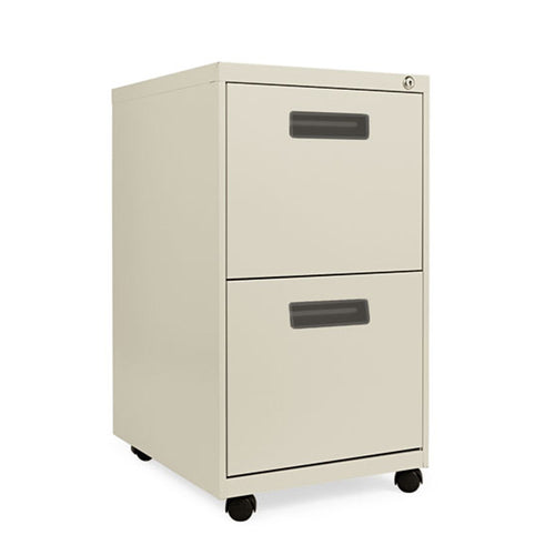"Double File Drawer Metal Mobile Pedestal w/ Recessed Pulls, 19 1/8""d"