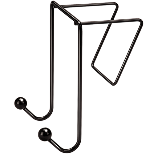 Double-Garment Wire Partition Coat Hooks, Black