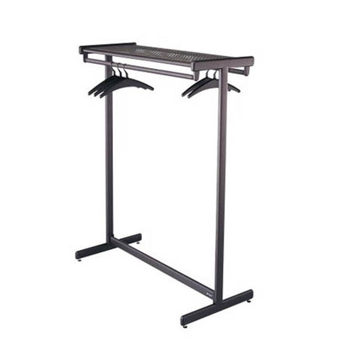Double-Sided Garment Rack w/Shelf, Black Steel