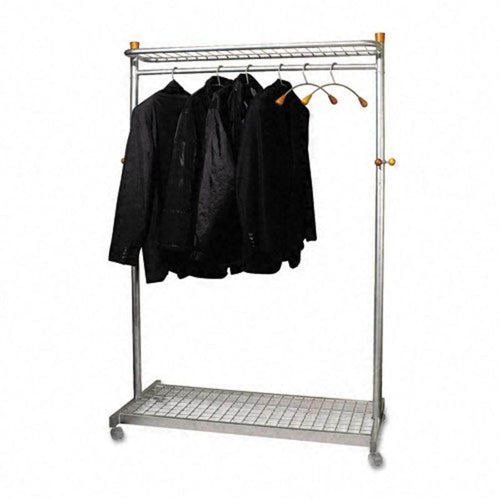 Double-Sided, Two-Shelf Garment Rack w/6 Hangers