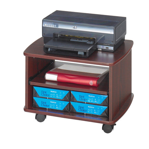 Duo Wood Mobile Printer Stand, Mahogany