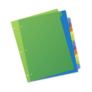 Durable Plastic Preprinted Tab Dividers w/ Multicolor Tabs, A-Z, Letter, Assorted (set of 12)