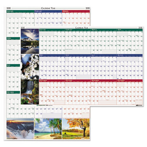 Earthscapes Nature Scene Reversible/Erasable Yearly Wall Calendar, 2019