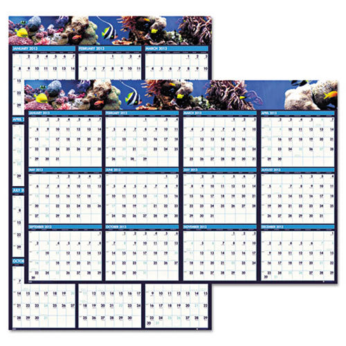 "Earthscapes Sea Life Scenes Reversible/Erasable Wall Calendar, 24"" X 37"", 2019"