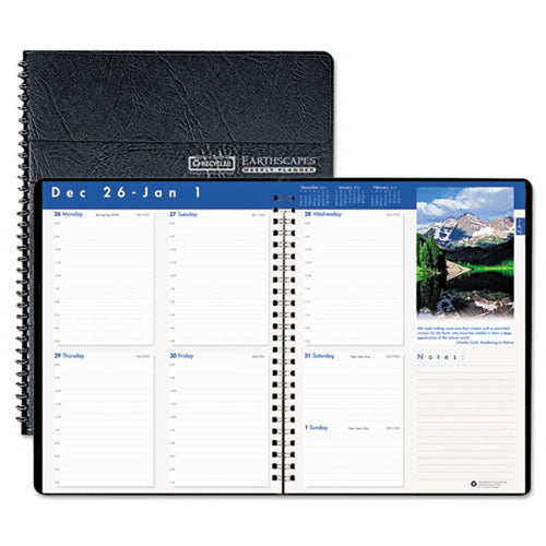 "Earthscapes Weekly Appointment Book, 8 1/2"" X 11"", Black, 2021"