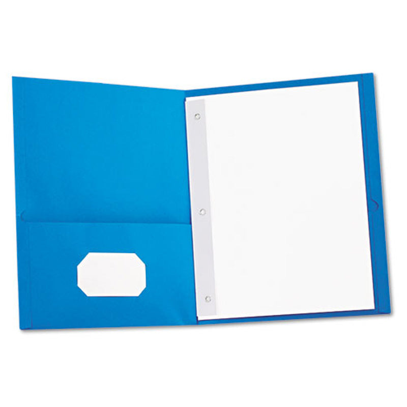 Economy Twin-Pocket Folder w/ Prong Fastener, Letter, Box of 25
