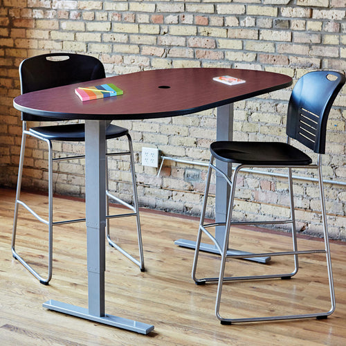 Electric Adjustable-Height Teaming Table, Racetrack