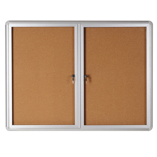 Enclosed Indoor Cork Bulletin Boards, Aluminum Frame
