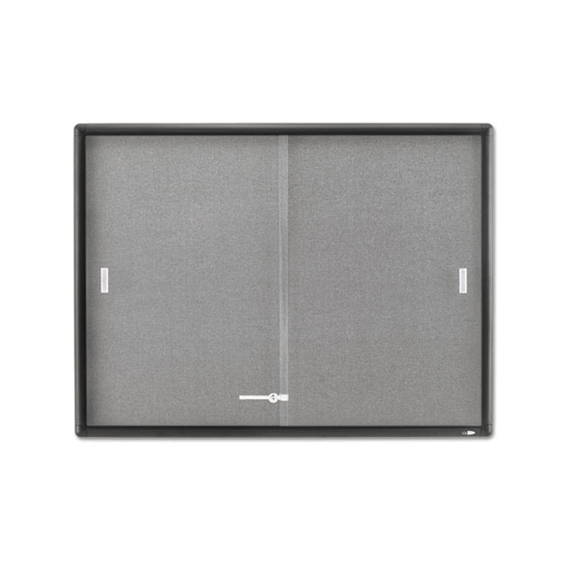 "Enclosed Indoor Cork & Fabric Bulletin Board w/ Sliding Glass Doors, 48""w x 36""h"