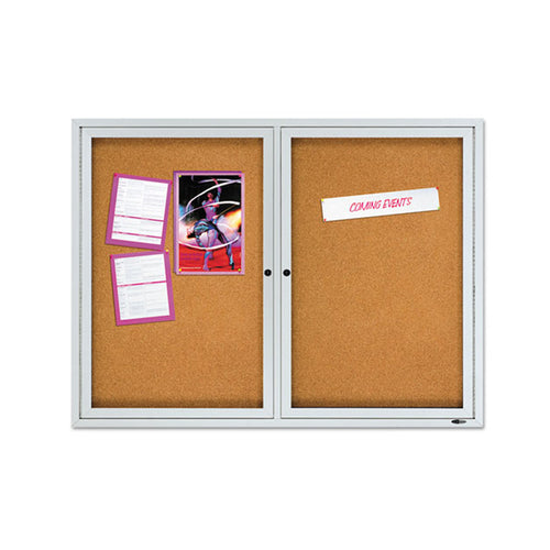 Enclosed Outdoor Cork Bulletin Board w/ Doors, Aluminum