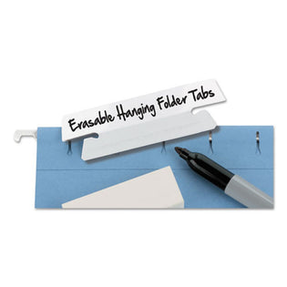 "Erasable Hanging Folder Tabs, 3 1/2"", 3rd-Cut (pack of 25), White"