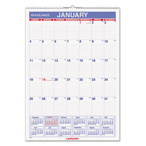 Erasable Wall Calendar, White, 2020