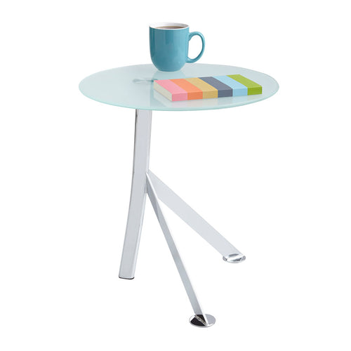 Euro Glass Accent Table, White