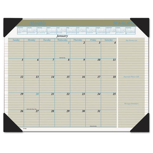 "Executive Monthly Desk Pad Calendar, 22"" X 17"", Buff, 2019"