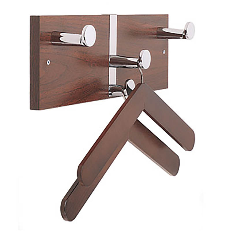Executive Wall Costumer w/Chrome Knobs & 2 Hangers, Oak