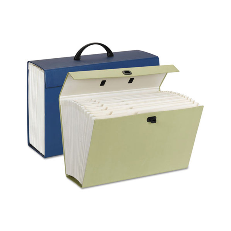 Expanding File Box w/ Latch Closure & Carry Handle, 19 Pockets, Legal, Assorted
