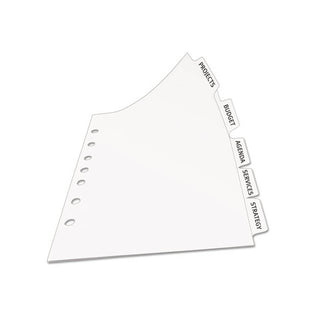 Extra-Wide Index Maker Clear Label Punched Dividers, 5-Tab, White