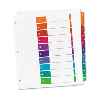 Extra-Wide Ready Index Dividers w/ Multicolor Tabs, 10-Tab, Letter (set of 10)