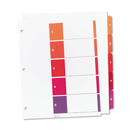 Extra-Wide Ready Index Dividers w/ Multicolor Tabs, 5-Tab, Letter (set of 5)