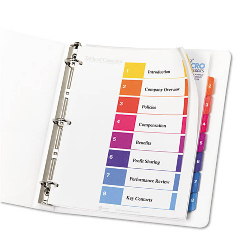 Extra-Wide Ready Index Dividers w/ Multicolor Tabs, 8-Tab, Letter (set of 8)