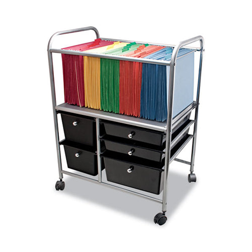 "File Cart w/ 5 Storage Drawers, 15 1/4""w x 21 7/8""d x 28 7/8""h, Letter/Legal, Silver w/ Black"