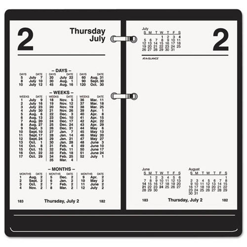 "Financial Desk Calendar Refill, 3 1/2"" X 6"", White, 2020"