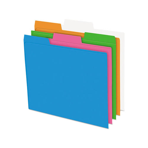 Glow Poly Top Tab File Folders, 3rd-Cut, Assorted Neon Colors (pack of 12)