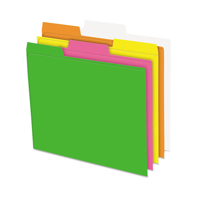 Glow Top Tab File Folders, 3rd-Cut, Assorted Neon Colors (box of 24)