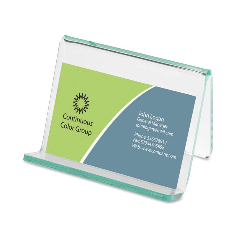 Green Glass Acrylic Business Card Holder