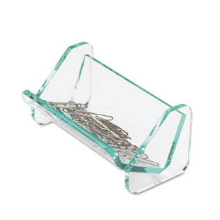 Green Glass Acrylic Paperclip Holder