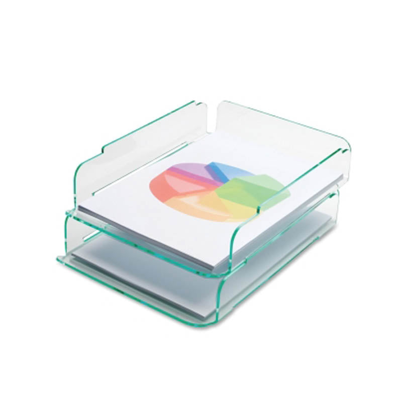 Green Glass Acrylic Stacking Letter Tray