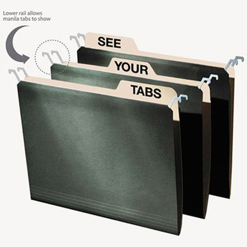 Hanging File Folders w/ Innovative Top Rail (pack of 20), Green