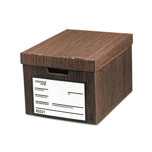 "Heavy-Duty Easy Assembly Storage Boxes, Letter/Legal, 12""w x 15""d x 10""h, Woodgrain (set of 12)"