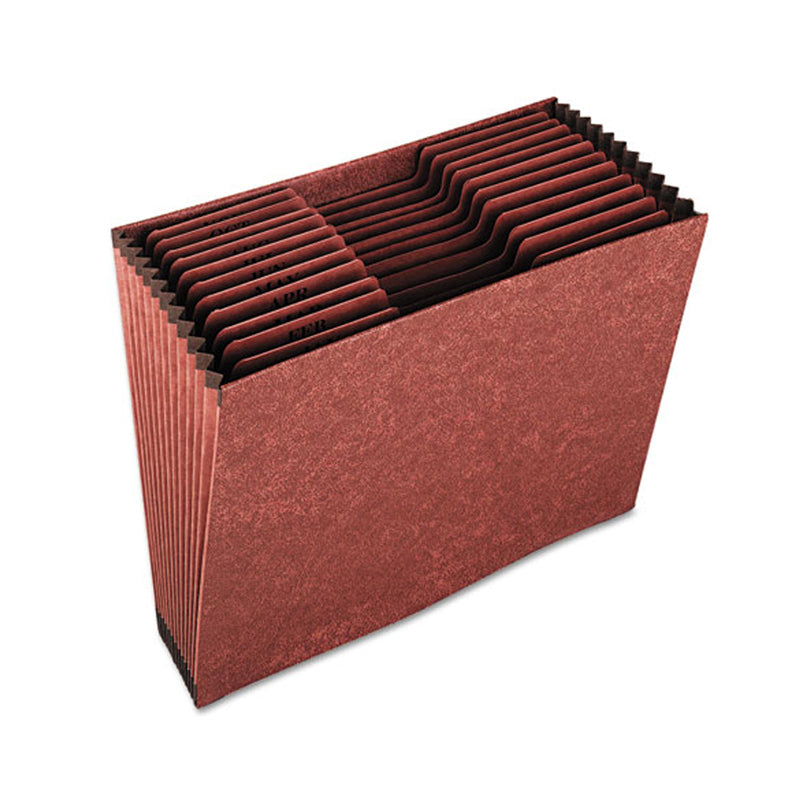 Heavy-Duty Expanding Open-Top File w/ Indexes, Brown