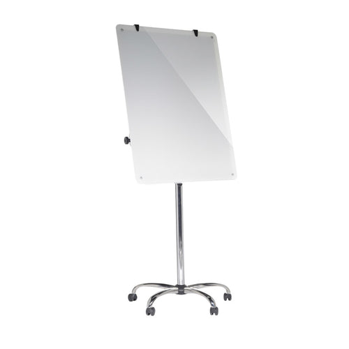 Heavy-Duty Magnetic Glass Mobile Easel w/ Chrome 5-Star Base