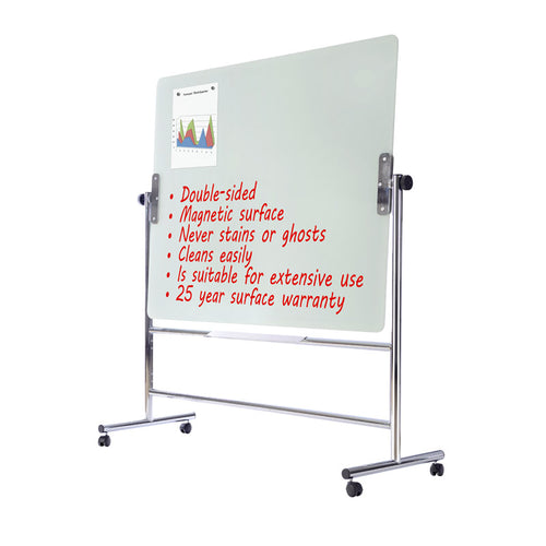 Heavy-Duty Magnetic Glass Reversible Mobile Easels with Chrome Base