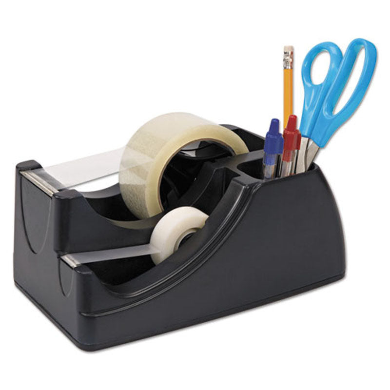 "2-in-1 Heavy-Duty Tape Dispenser (for 1"" and 3"" Cores), Black"