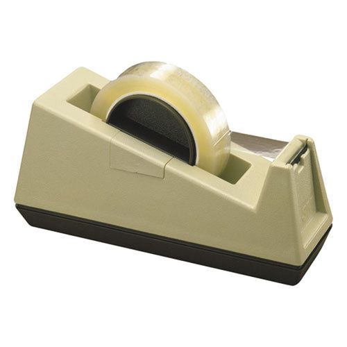 "Heavy-Duty Weighted Desktop Tape Dispenser, 3"" Core, Putty w/ Brown"