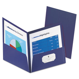 Honeycomb High-Capacity Twin-Pocket Folders, Letter, Pack of 4, Dark Blue