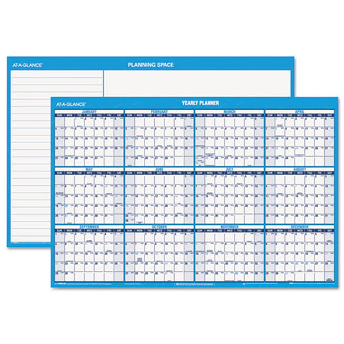 Horizontal Erasable Wall Planner, Blue/White, 2019