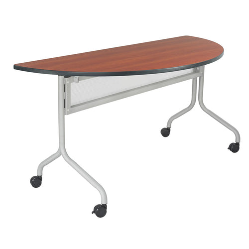 "Impromptu 48"" x 24"" Half-Round Folding/Nesting Training Table w/ Casters"
