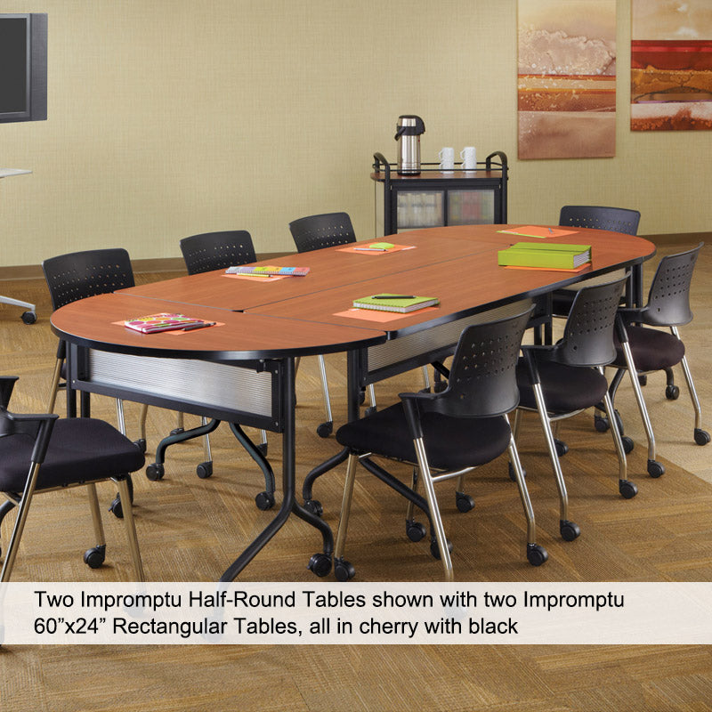 Impromptu Round FldngNesting Training Table W Casters - Half circle conference table