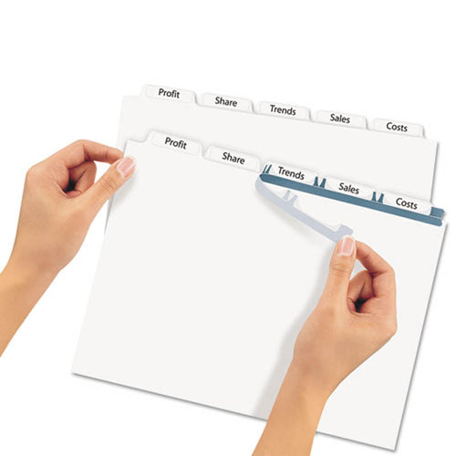Index Maker Clear Label Punched Dividers, 5-Tab, Letter, White