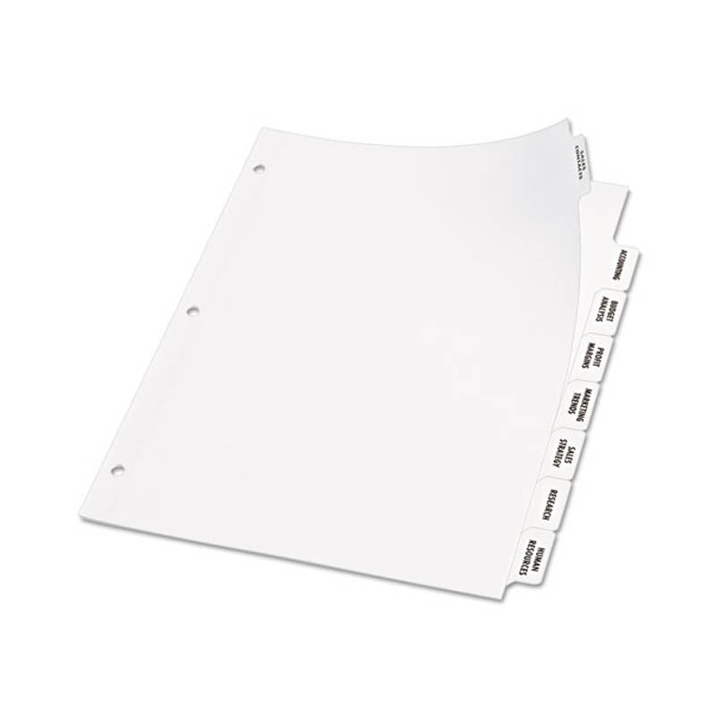 Index Maker Clear Label Punched Dividers w/ Big Tabs, 8-Tab, Letter, White
