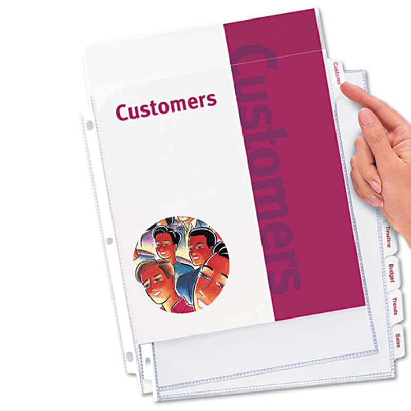Index Maker Punched Clear Pocket Presentation Dividers, 8-Tab, Letter (set of 8)