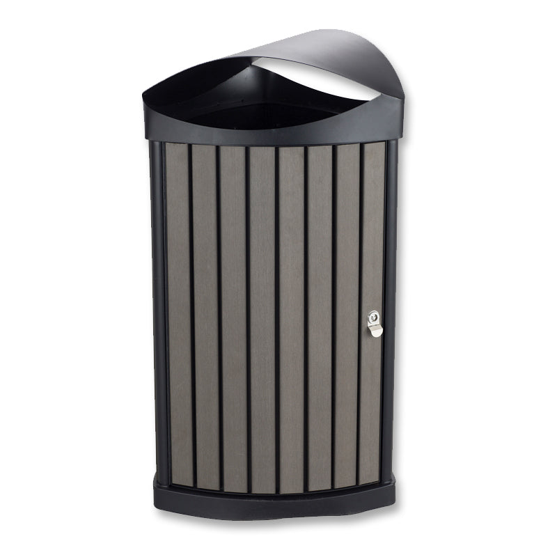Indoor/Outdoor Resin-Panel Waste Receptacle, 20-Gallon Black w/ Charcoal