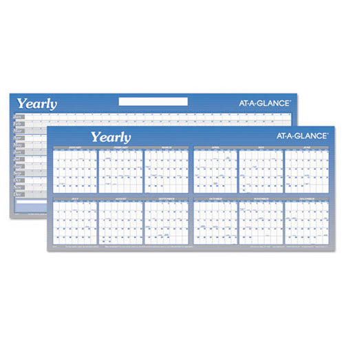"Large Horizontal Erasable Wall Planner, 60"" X 26"", White/Blue, 2019"