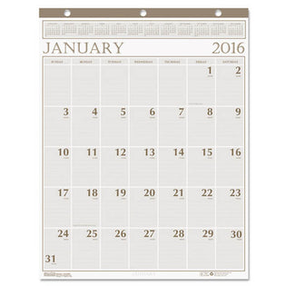 "Large Print Monthly Wall Calendar In Punched Leatherette Binding, 20"" X 26"", 2021"