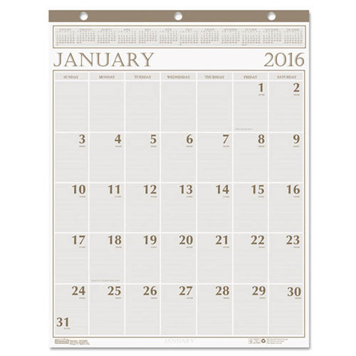 "Large Print Monthly Wall Calendar In Punched Leatherette Binding, 20"" X 26"", 2020"