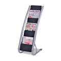 Literature Floor Display Rack, Silver w/ Black